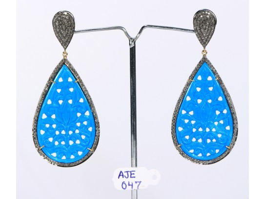 Antique Style Dangling  Drop Shape Earrings 14kt Gold  .925 Sterling Silver with Oxidized  Pave Diamonds and Carved Turquoise