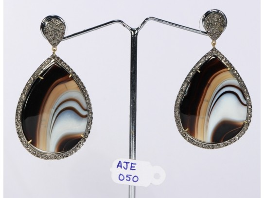 Antique Style Dangling  Earrings 14kt Gold  .925 Sterling Silver with Oxidized  Pave Diamonds and Marble Onyx