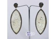 Antique Style Dangling  Drop Shape Earrings 14kt Gold  .925 Sterling Silver with Oxidized  Pave Diamonds and Carved Mother of Pearl