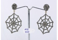 Antique Style Dangling  Spider Web Design Earrings .925 Sterling Silver with Oxidized  Pave Diamonds