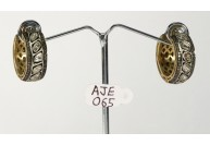 Antique Style Hoops Earrings 14kt Gold .925 Sterling Silver with Rosecut Diamonds and Pave Diamonds