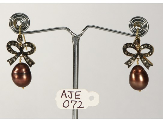 Antique Style Bow Shape Dangling Earrings 14kt Gold .925 Sterling Silver with Oxidized  Pave Diamonds and Brown Pearl