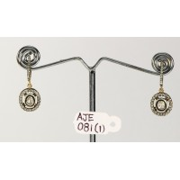 Antique Style Drop Shape Dangling Round shape Earrings 14kt Gold .925 Sterling Silver with Oxidized  Rosecut Diamonds and Pave Diamonds
