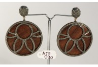 Antique Style Round Dangling  Earrings  .925 Sterling Silver with Oxidized  Pave Diamonds and Wood