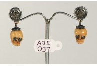 Antique Style Dangling  Earrings Skull Design 14kt Gold .925 Sterling Silver with Oxidized  Pave Diamonds and Carved Bone