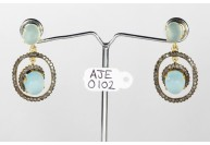 Antique Style Dangling  Earrings  .925 Sterling Silver with Oxidized  Pave Diamonds and Aquamarine