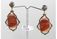 Antique Style Dangling  Earrings  .925 Sterling Silver with Oxidized  Pave Diamonds and Agate
