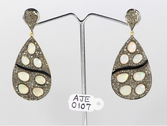 Antique Style Dangling  Earrings  .925 Sterling Silver with Oxidized  Pave Diamonds and Opals