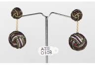 Antique Style Dangling  Earrings 14kt Gold  .925 Sterling Silver with Oxidized  Pave Diamonds and Ruby