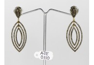 Antique Style Long Dangling  Earrings   .925 Sterling Silver with Oxidized  Pave Diamonds