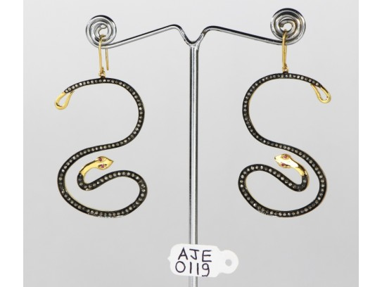 Antique Style Dangling  Hook Earrings 'S' Snake Design 14kt Gold   .925 Sterling Silver with Oxidized  Pave Diamonds and Ruby