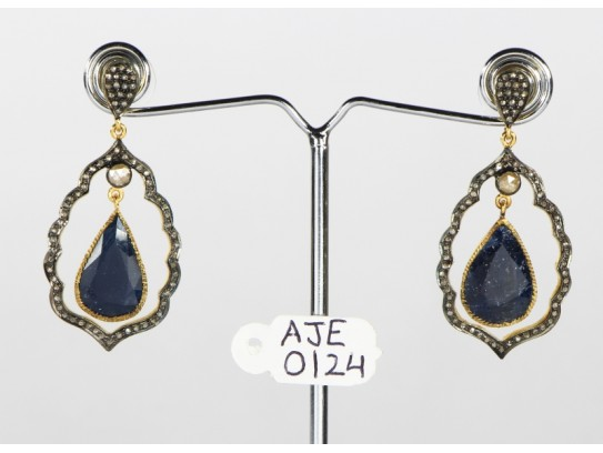 Antique Style Dangling  Earrings 14kt Gold  .925 Sterling Silver with Oxidized  Pave Diamonds and Blue Sapphires