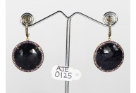 Antique Style Dangling  Earrings 14kt Gold  .925 Sterling Silver with Oxidized  Pave Diamonds and Sunstar and Pink Sapphire Gemstones