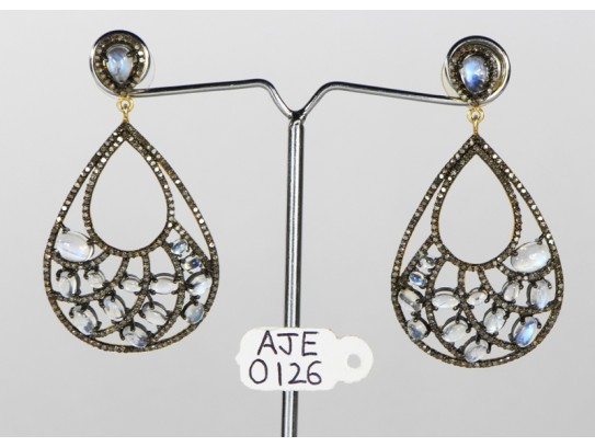 Antique Style Dangling  Earrings 14kt Gold  .925 Sterling Silver with Oxidized  Pave Diamonds and Moonstones
