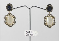 Antique Style Dangling  Earrings 14kt Gold  .925 Sterling Silver with Oxidized  Pave Diamonds and Moonstones and Blue Sapphires