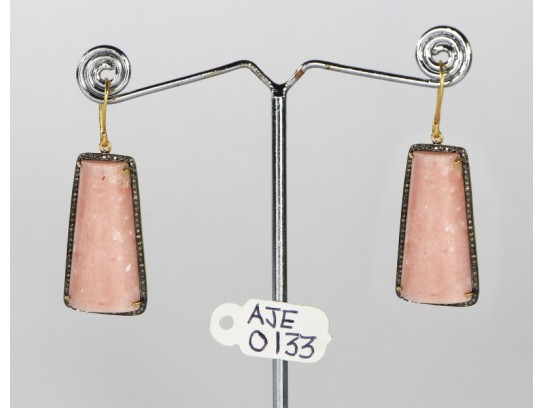 Antique Style Dangling Hook  Earrings  .925 Sterling Silver with Oxidized  Pave Diamonds and Pink Opal