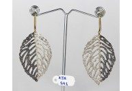 Antique Style Long Dangling Leaf Design 2-Tone Hook Earrings   .925 Sterling Silver with Oxidized  Pave Diamonds