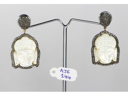 Antique Style Dangling  Earrings 14kt Gold  .925 Sterling Silver Buddha Design with Oxidized  Pave Diamonds and Carved Mother of Pearl
