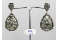 Antique Style Dangling Earrings 14kt Gold .925 Sterling Silver with Oxidized  Pave Diamonds and Rutile Quartz