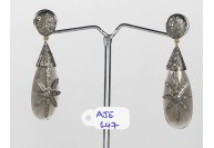 Antique Style Dangling Earrings 14kt Gold .925 Sterling Silver with Oxidized  Pave Diamonds and Moonstone