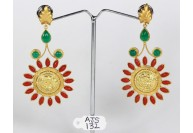 Antique Style Dangling Round Earrings .925 Sterling Silver Gold Micron Plated with Coral and Green Stone