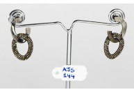 Antique Style Earrings .925 Sterling Silver Organic 2-Tone Link Design with Fine Diamonds