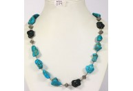 Antique Style Organic Necklace .925 Sterling Silver with Natural Turquoise and Diamond Beads