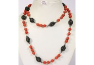 Antique Style Organic Necklace .925 Sterling Silver with Coral and Diamond Beads