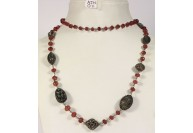 Antique Style Organic Necklace .925 Sterling Silver with Pink Sapphire and Diamond Beads