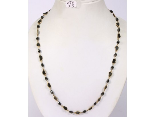 Antique Style Long Necklace Chain  .925 Sterling Silver with Natural Black Diamond Slices