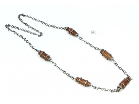 Long Necklace Chain  .925 Sterling Silver with Wood And Diamond Links