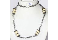 Antique Style Organic Necklace .925 Sterling Silver with Pave Diamonds and White Cylindrical Carved Bone Beads
