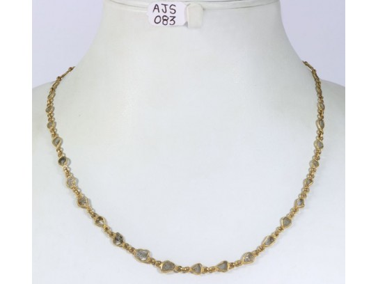 Antique Style Organic Necklace .925 Sterling Silver Gold Micron Plated with Diamond Slices