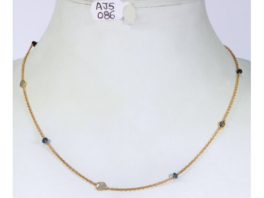 Antique Style Organic Necklace .925 Sterling Silver Gold Micron Plated with Diamond Slices and Blue Sapphire Beads