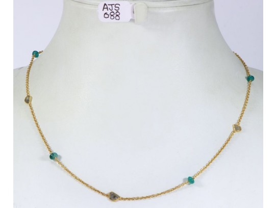 Antique Style Organic Necklace .925 Sterling Silver Gold Micron Plated with Diamond Slices and Emerald Beads