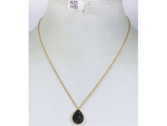 Antique Style Organic Necklace .925 Sterling Silver Gold Micron Plated with Black Diamond Drop Shape Pendant