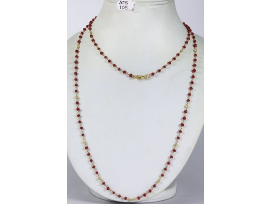 Antique Style Organic Long Necklace Chain  .925 Sterling Silver Gold Micron Plated Wire Wrapped with Ruby Beads