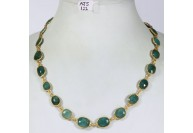 Antique Style Organic Necklace .925 Sterling Silver Gold Micron Plated with Emerald Slices