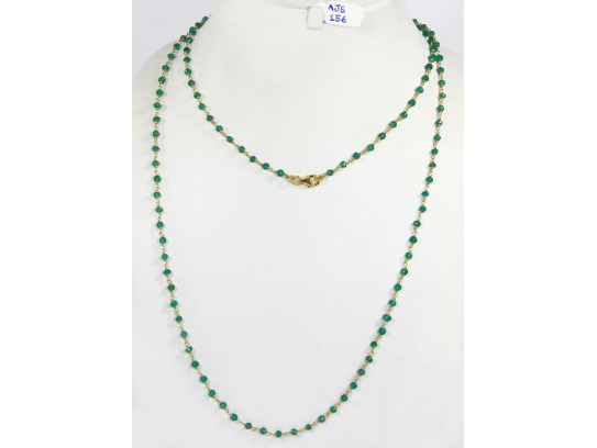 Antique Style Organic Long Necklace Chain  .925 Sterling Silver Gold Micron Plated Wire Wrapped with Green Onyx Beads