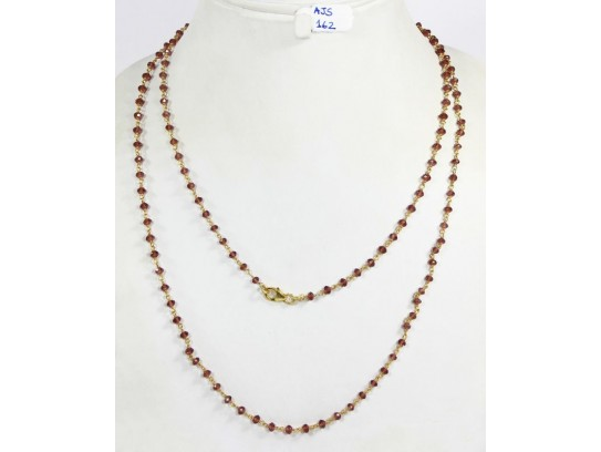 Antique Style Organic Long Necklace Chain  .925 Sterling Silver Gold Micron Plated Wire Wrapped with Garnet Beads