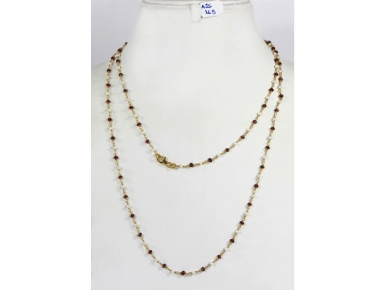 Antique Style Organic Long Necklace Chain  .925 Sterling Silver Gold Micron Plated Wire Wrapped with Garnet and Pearl Beads