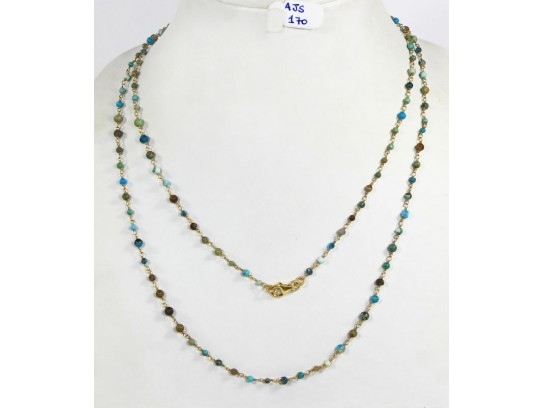 Antique Style Organic Long Necklace Chain  .925 Sterling Silver Gold Micron Plated Wire Wrapped with small Natural  Turquoise Beads