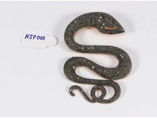 Antique Style Snake Design Big Pendant .925 Sterling Silver with Oxidized Pave Diamonds and Ruby Eye