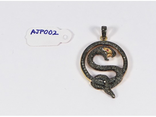 Antique Style Snake Design Pendant .925 Sterling Silver with Oxidized Pave Diamonds and Ruby Eye with Diamond Bail