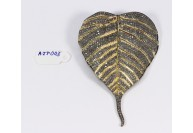 Antique Style Leaf  Design Big 2-Tone Gold Plated Pendant .925 Sterling Silver with Oxidized Pave Diamonds