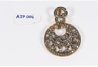 Antique Style  Pendant .925 Sterling Silver with Oxidized Pave Diamonds with Diamond Bail