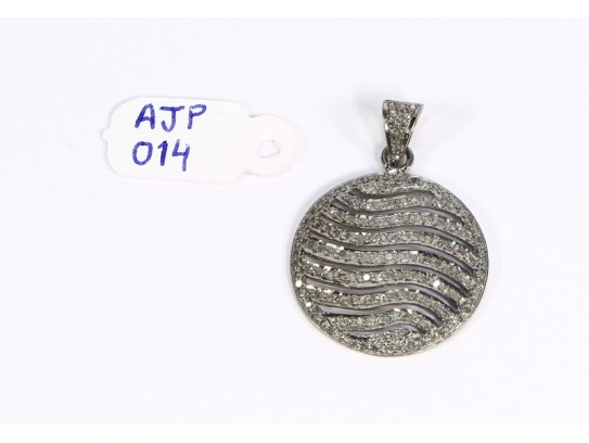 Antique Style  Cutwork Design Round Pendant .925 Sterling Silver with Oxidized Pave Diamonds with Diamond Bail