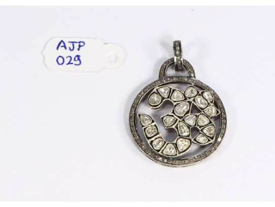 Antique Style  Round Om Design Pendant .925 Sterling Silver with Rosecut Diamonds and Oxidized Pave Diamonds Bail