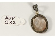 Antique Style  Pendant .925 Sterling Silver with Rutile Quartz and  Oxidized Pave Diamonds with Diamond Bail