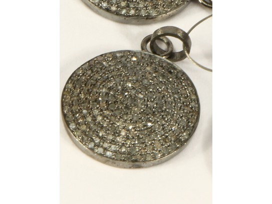 Antique Style  24mm Round Pendant .925 Sterling Silver with Oxidized Pave Diamonds